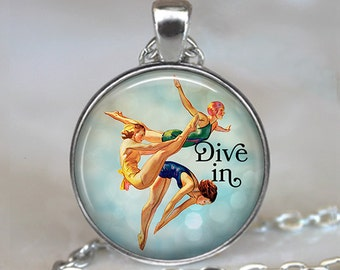 Dive In necklace, Dive In pendant, Diving necklace, Diving pendant, swimmer's necklace swimmer's gift diver's gift key chain