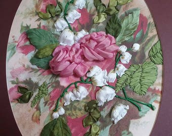 Silk ribbon embroidery roses wall hanging unique gift