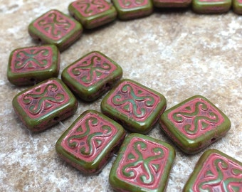 Pink Pistachio Picasso Carved Czech Glass Beads