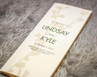 "Rustic Wedding Program, Country Chic Wedding Program, Modern, Fall Wedding Invitation - ""Modern Floral Silhouette"" Booklet Program - DEPOSIT"