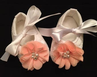 White Lace Baby Shoes - White Shoes with Peach Flower Accent - Flower Girl Baby Shoes - Baby Dress Shoes