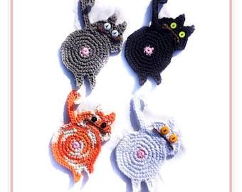 Cat butt coasters, peeping cat butt coasters, crochet set of four, black, grey, white, orange