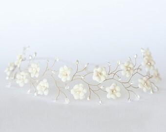 Wedding diadem, Ivory diadem, Gold headband, Bridal diadem, Flower headbands, Headband, Diadem, Floral diadem, Bridal headbands, For her 51