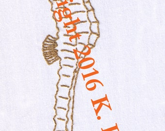 Seahorse Hand Embroidery Pattern, Ocean, Fish, Sea, Horse, Swimming, PDF