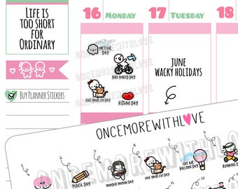 Wacky Holidays - June 2018 Planner Stickers (2018 - W06)
