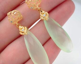 Gold Earrings Dangle Crystal Earrings Drop Earrings Long Chalcedony Earrings Bridesmaid Earrings Flower Drop Dangle Earrings Bridesmaid Gift