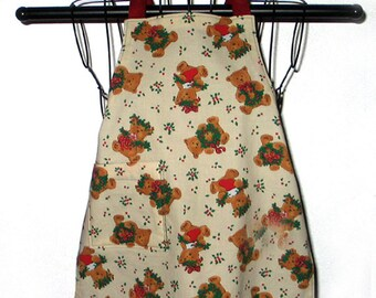 Childs Apron Teddy Bears Holly 1T thru 3T Kids Reversible Adjustable
