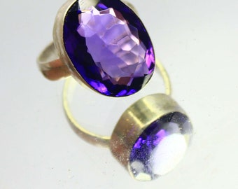 34.05Ct Certified US Size-9 Beautiful Purple Amethyst Ring Gems 925 Sterling Silver AQ2251