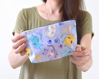 """Cat Print Zippered Cosmetic Bag, Make-up Bag, Toiletry Bag, Pouch - 8"""" x 5.5"""""""