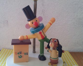 Table lamp vintage clown and dog for the nursery / children/lamp table lamp vintage/lamp/lamp vintage kids /