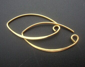 Bali Artisan 24k Gold Vermeil SEXY Leaf Earrings Earwires, 2 pairs, 34.5x19mm - EW-0016