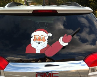 Waving Santa Claus Christmas WiperTags attach to rear vehicle wipers