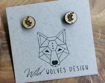 Leaf Imprint Wood Circle Stud Earrings