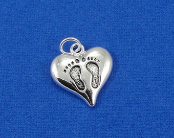 Heart with Baby Footprints Charm - Silver Plated Baby Feet Charm for Necklace or Bracelet