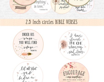 2.5 inch size Printable download BIBLE VERSES digital collage sheet circle pocket mirror badge magnets printable bible verses Allegradigital