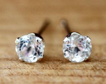 White Topaz Stud Earrings Sterling Silver with Genuine Topaz 6mm April Birthstone Earrings