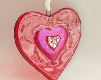 New! Red Fused Glass Heart - Glass Christmas Tree Ornament - Red Dichroic Heart - Fused Glass Christmas Decoration - Secretary Gift