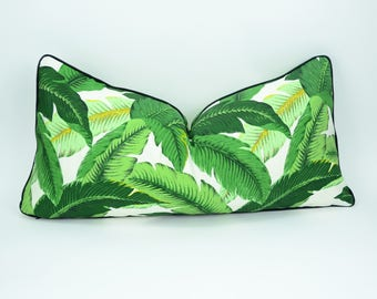 banana leaf pillow // palm leaf pillow cover // tropical pillow cover // Tommy bahama swaying palms // green pillow cover //