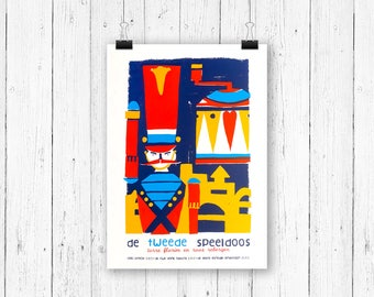 Screen print poster toy soldier - De Tweede Speeldoos - gig poster 70 x 50 cm