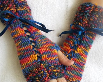 Blue Knit  Fingerless Gloves Corset Wrist Warmers Red Blue Yellow Green