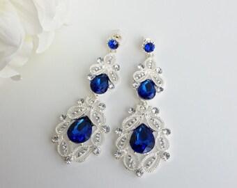 Vintage style Crystal Chandelier Bridal Earrings, Blue Pear Drop Wedding Long Earrings, Silver / Gold tone Wedding Jewelry, Dangle Earrings