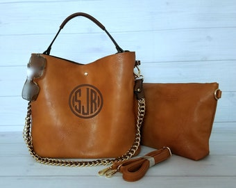 Monogram Large Brown Hobo Purse with Chain Strap - Mothers Day Personalized - Monogram Purse - Gift For Her - Hobo Bag - Bucket Bag