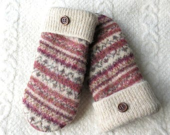 Copper and Tan Fair Isle Mittens, Sweater Wool Mittens in Earthtones, Eco-Friendly Lined Felted Wool Mittens