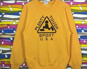 Rare!! Vintage PLENTY TOUGH SPORT Usa Big Logo Sweatshirt yellow colour jumper pullover gift