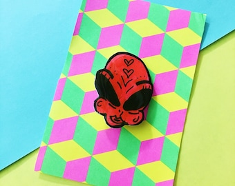 Neon Pink Clair The Alien Arcylic pin badge