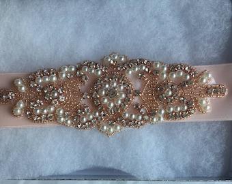 SALE BRIDAL SASH, Rose gold Bridal sash, Bridal crystal belt, Rhinestone belt Bridal sash Wedding sash/belt Bridesmaid belt Dress Sash/Belt