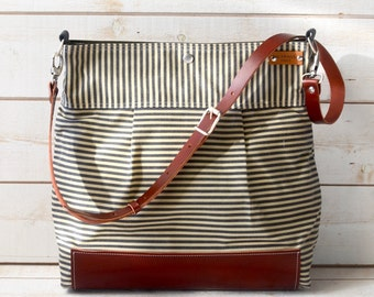 Waxed canvas bag in burgundy leather,Diaper bag, Cross body bag, Messenger bag, Gray ecru striped, travel bag, gift for her,garnet