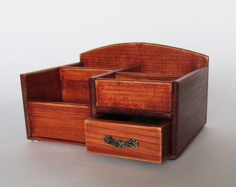 Wooden Desktop Box Desk Organizer Office Organizer Pencil Cup Caddy Tools Office Supplies Holder  Distressed Finish Palisander color