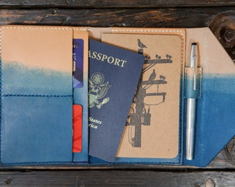 Made to Order Indigo Leather Travel Wallet Field Notes Wallet Passport Wallet  Made in USA Leather Wallet With Pen Holder Vegetable Tanned