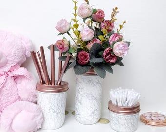 Rose Gold Marble Jars, Makeup Brush Holder, Marble Office Decor, Marble  Desk Accessories