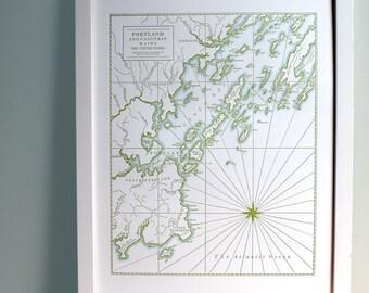 Portland Maine, Letterpress Map Art Print, Olive Green