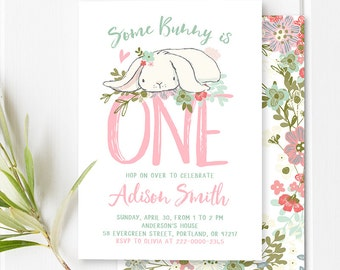 Some Bunny Birthday Invitation Girl First Birthday Bunny Invitation Easter Birthday Party Invite Spring 2nd 1st Birthday Pink Mint PRINTABLE