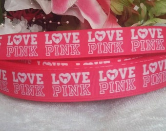 3 yards 7/8' love pink Victoria secret inspired grosgrain ribbon