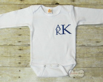 Boys Monogrammed Shirt or Bodysuit in Navy & White