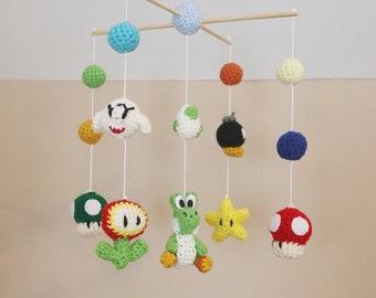 Crochet Yoshi & Friends Crib Mobile (Ready To Ship)