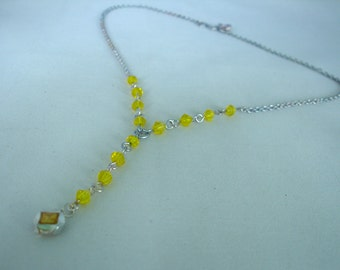 Yellow  Glass - Acrylic - Pendant Necklace - Y Necklace - Chain - Diamond shaped Crystal Beads- Summer Jewelry