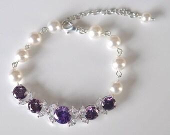 Handmade Amethyst Purple Cubic Zirconia CZ and Pearl Bridal Bracelet, Bridal, Wedding (Pearl-741)