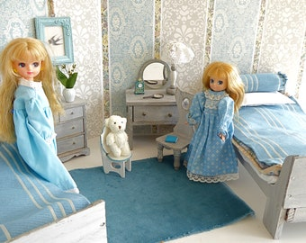 Vintage TWIN DOLL BEDROOM, French Provencal Style with Folding Beds