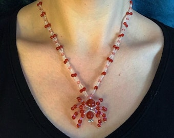 Carnelian Spider Necklace