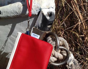 red faux leather clutch, sealyo small purse, nautical everyday clutch, evening red handbag