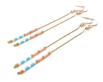 long gold delicate earrings long drop earrings simple earrings dainty earrings delicate earrings chain earrings