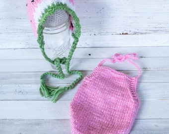 Watermelon Bonnet - Romper - Bonnet - Hat - Newborn - Watermelon Hat - Watermelon - Baby Wear - Summer