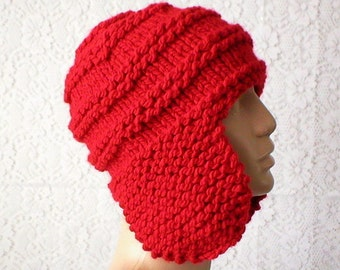 Red ear flap hat, trapper cap, winter hat, knit hat, toque, red hat, mens womens hat, chemo cap, red knit hat, ski toboggan biker hiking hat