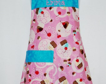 Pink Cupcake Child's Apron, Pink and Teal Apron, Little Girls Apron, Custom Personalize With Name, No Shipping Fee, Ready To Ship TODAY 819