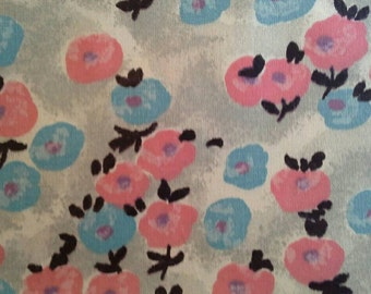 Vintage Cotton Fabric with Blue and Pink Flowers on Grey 4 Yards X0678