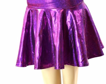 Fuchsia Sparkly Jewel Metallic Circle Cut Mini Skirt Rave Clubwear EDM 152372